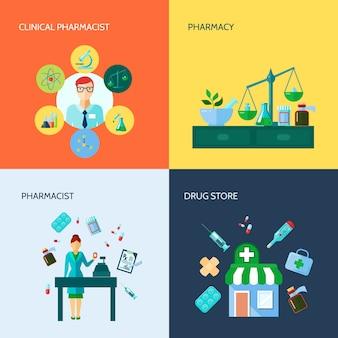 Изолированная плоская концептуальная аптека значок набор с различными медицинскими приборами и методами применения лекарств