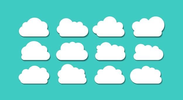 分離された平らな白い雲コレクションベクトル空要素の背景