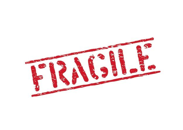 Изолированный хрупкий гранж резиновый знак коробки для грузов, доставки и логистики