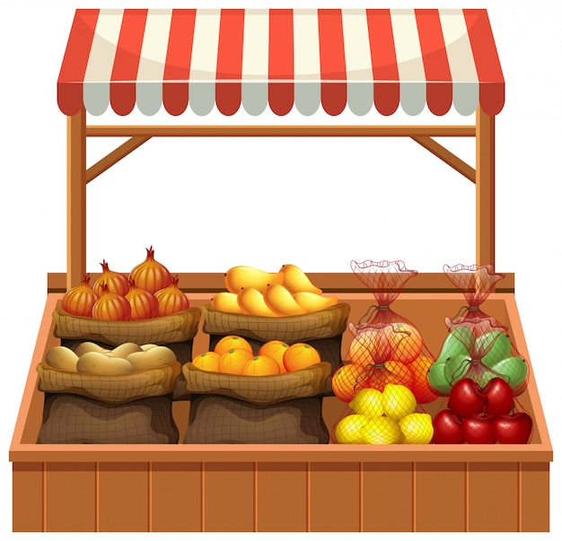Isolated fresh vegetable stall