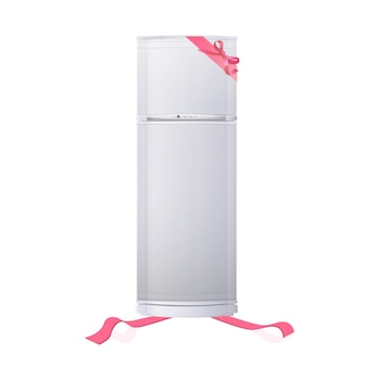 Isolated fridge with ribbon