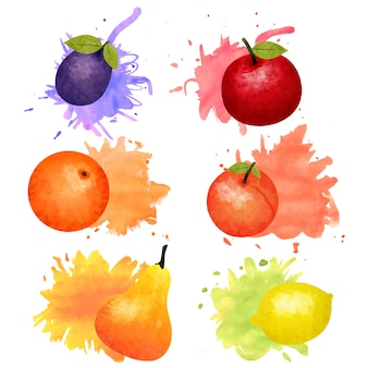 Isolated fruits and berries watercolor set with colorful blots