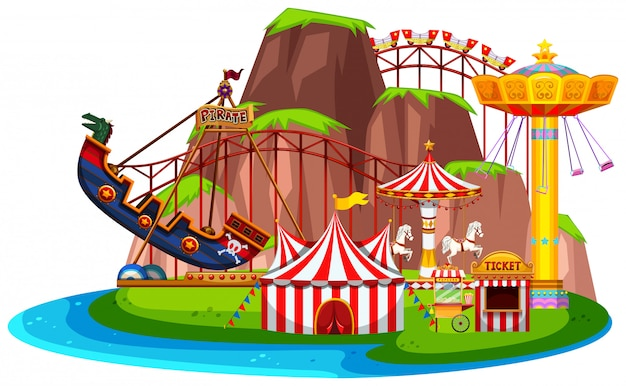Isolated fun park landscape