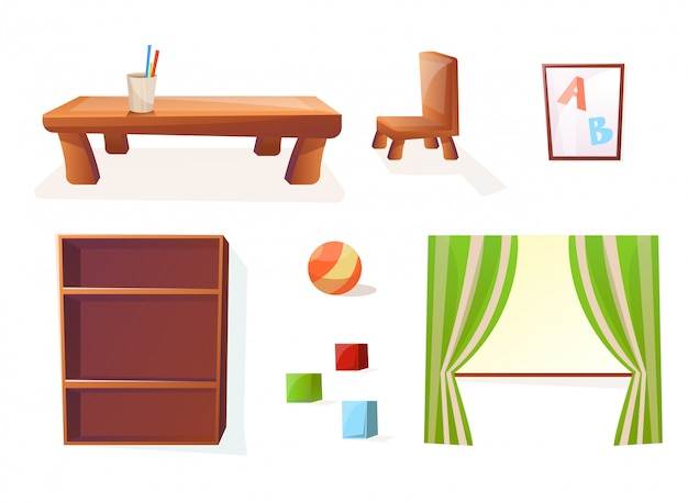Isolated furniture for the interior of the children or kids room