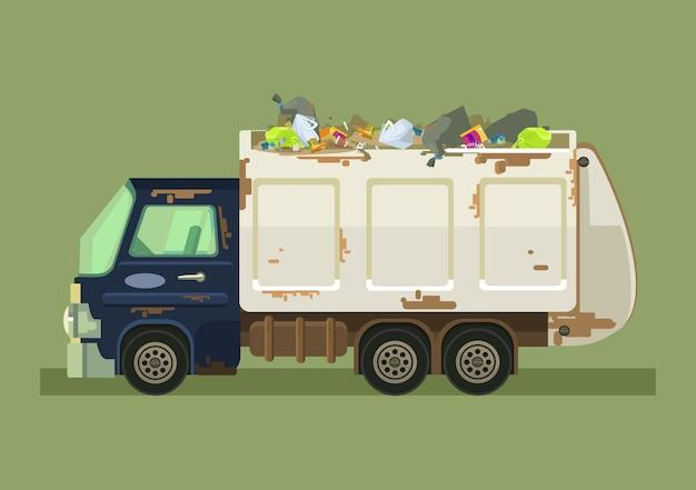 孤立したごみ収集車。ベクトルフラット漫画イラスト