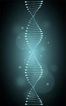 파란색 빛나는 효과가 있는 격리된 유전 나선 모델