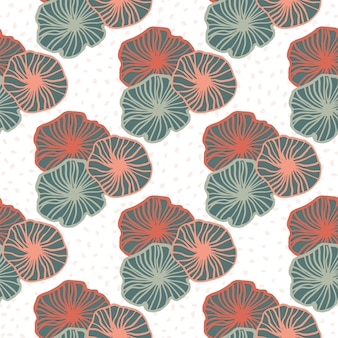 Isolated geometric outline flowers seamless pattern. pink and blue pastel contoured elements on white background.