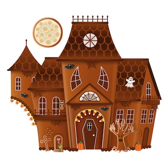 Isolated gingerbread halloween house with cookies and candies