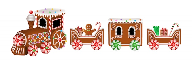 Isolated gingerbread train with gingerbread man and christmas candies