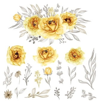 Isolated gold yellow rose flower leaves for wedding