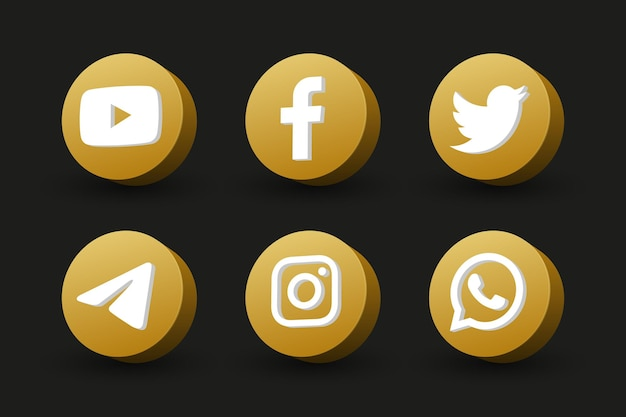 블랙에 고립 된 황금 원 관점보기 소셜 미디어 로고 아이콘 모음