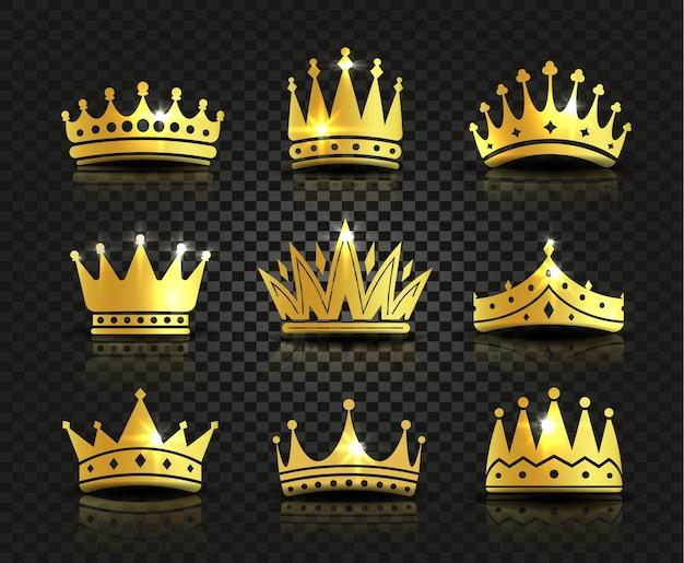 黒の背景に孤立した黄金色の王冠のロゴのコレクション