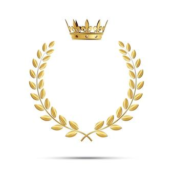 王冠と孤立した黄金の月桂樹の花輪