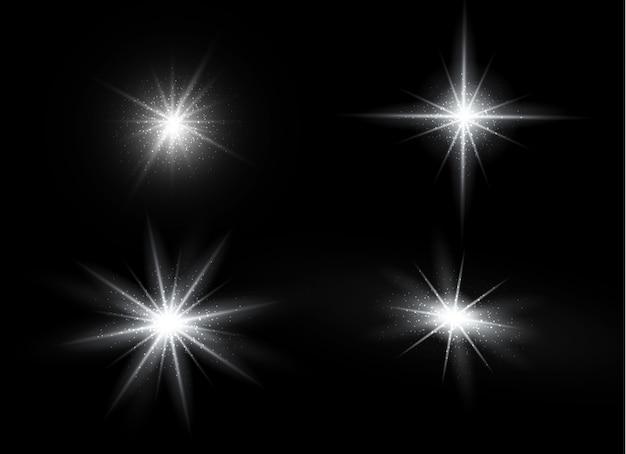 고립 된 황금 렌즈 플레어. 광선 투명 벡터 조명 효과 세트, 폭발, 반짝이, 스파크, 태양 플래시 및 스타 버스트. 추상 반투명 특수 요소 디자인.