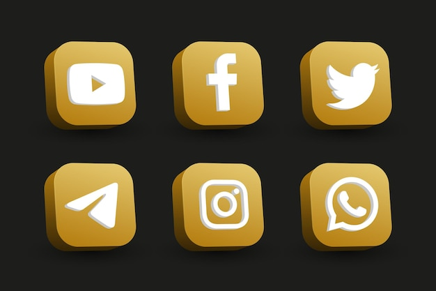 Isolated golden square perspective view social media logo icon collection on black