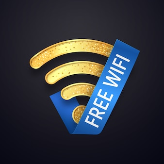 Isolated golden wifi  icon with blue ribbon . gold free wi fi wireless symbol. textured wi-fi logo on dark