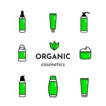 Isolated green icons of organic cosmetic products
