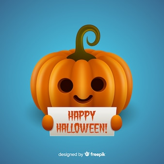 Isolated halloween pumpkin holding sign