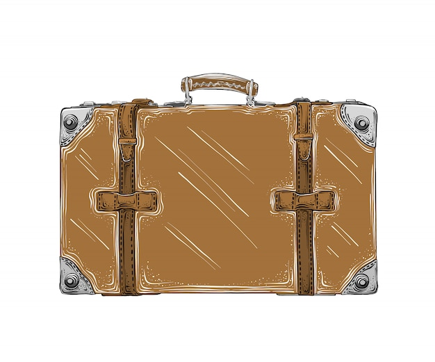 Isolated hand drawn sketch of retro suitcase in brown color