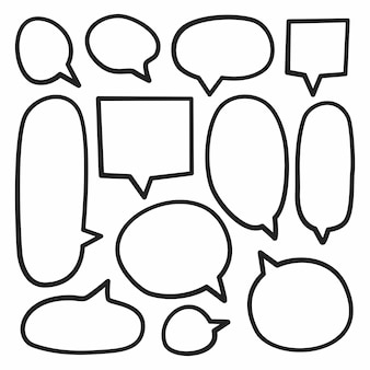 Isolated  hand drawn speech bubble set on a white background.