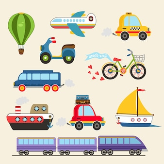 Isolated hand drawn transport set vector illustration