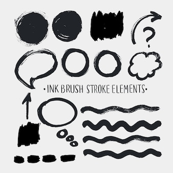Isolated handwriting brush stroke set elements