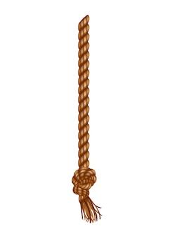 タッセル付きの孤立した吊りロープ。リアルな結び目のある航海用スレッド。航海または海洋の垂直繊維。ブラシと擦り切れた結び目が付いた麻ひも。テキスタイルタッセルがロープにぶら下がっている