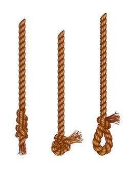 タッセル付きの孤立した吊りロープ。リアルな結び目のある航海用スレッド。航海または海洋の垂直繊維。ブラシと擦り切れた結び目が付いた麻のひも。テキスタイルタッセルがロープにぶら下がっている