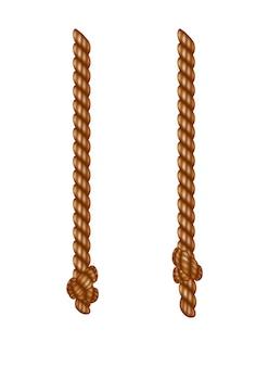 タッセル付きの孤立した吊りロープ。リアルな結び目のある航海用スレッド。航海または海洋の垂直繊維。ブラシと擦り切れた結び目が付いた麻のひも。テキスタイルタッセルがロープにぶら下がっています。