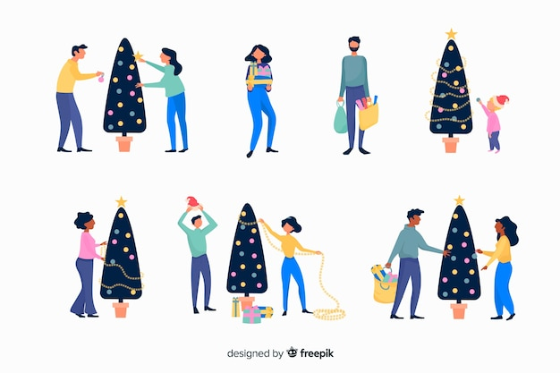 Isolated happy couple decorating the tree winter season background