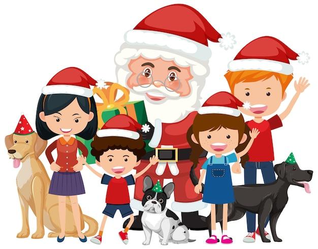 Isolated happy family celebrating christmas