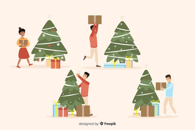 Isolated happy people decorating christmas tree