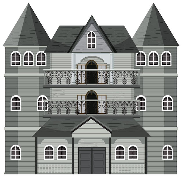 Isolated haunted mansion facade