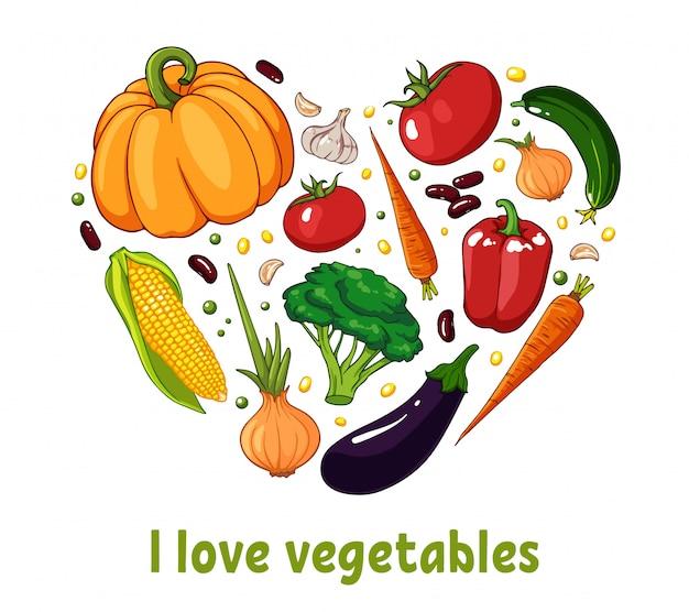 野菜で作られた孤立したハートシルエット