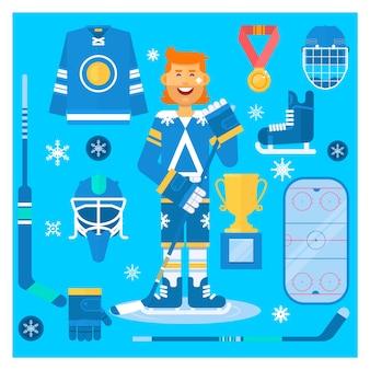 Isolated hockey uniform equipment and athlete