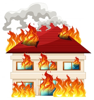 Isolated house on fire