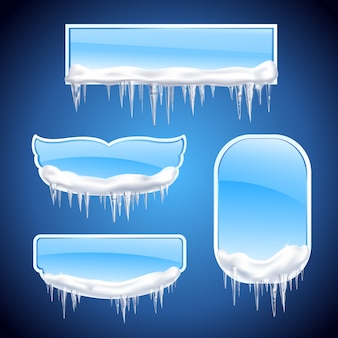 Isolated icicles frames realistic icon set with different shape windows or frames on blue background  illustration