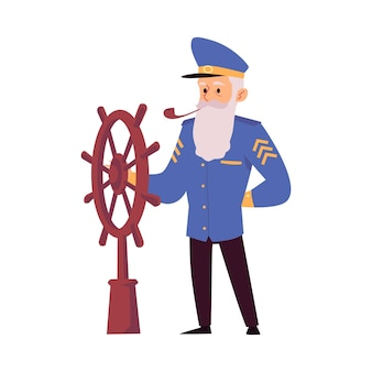 Isolated icon of the sea captain behind the steering wheel on board the ship