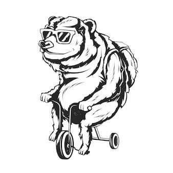 Illustrazione isolata di orso su una bicicletta