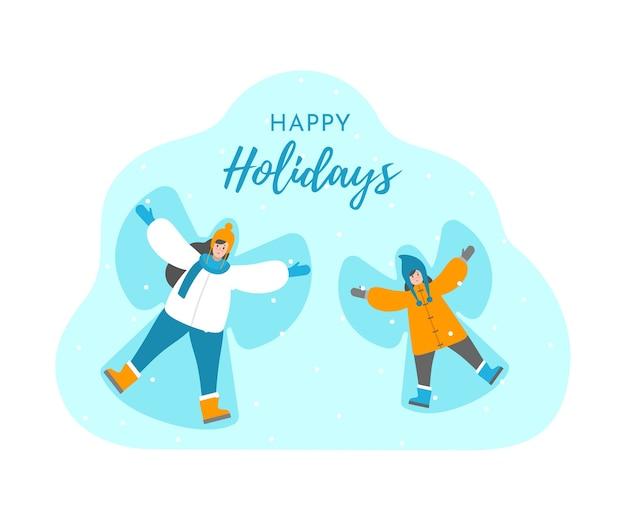 Изолированное понятие иллюстрации. рождественская открытка с текстом, желающим счастливых праздников. мама и дочь лепят снежного ангела