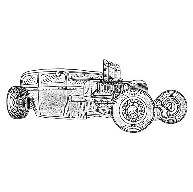 Isolated illustration of custom hot rod.