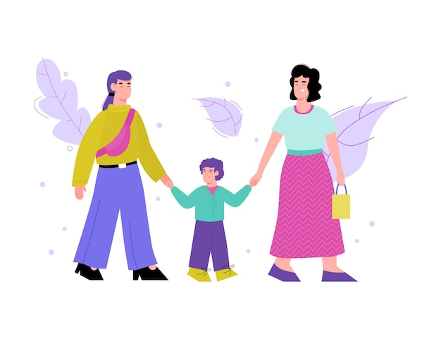 Isolated illustration of a happy lesbian family walking with their kid