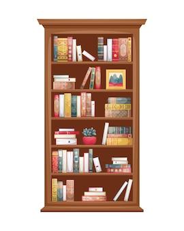 책과 함께 나무 책장의 고립 된 그림입니다. 복고 스타일의 책 등뼈.