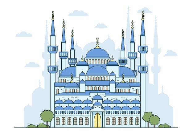 Изолированных иллюстрация турецкой голубой мечети в стамбуле. религиозная исламская и византийская архитектура, национальные достопримечательности.