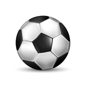 Isolated illustration of realistic black and white soccer ball on white background