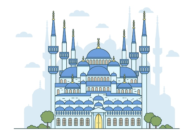 Isolated illustration of turkish blue mosque in istanbul. religious islamic and byzantine architecture, national attractions.