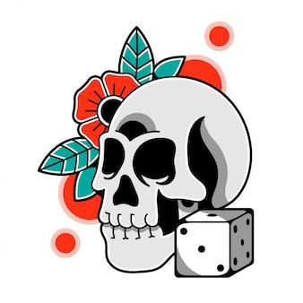 두개골 꽃과 주사위와 격리 된 그림입니다.
