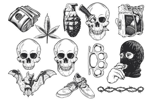 Isolated illustrations set of skull and gangster items