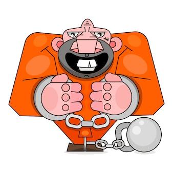 白地にオレンジ色の制服を着た孤立した投獄された男。