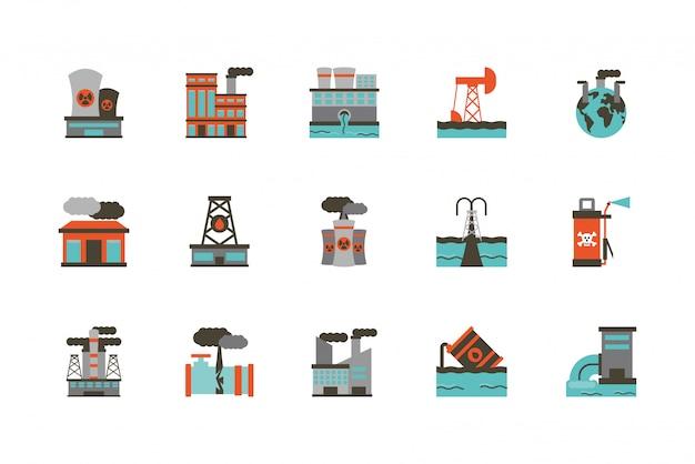 Изолированный промышленный и дизайн значка загрязнения установленный